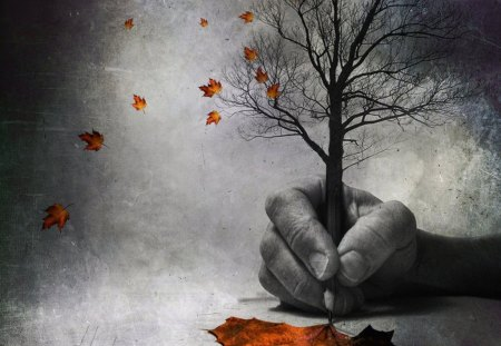 when the autumn is by iron doom design... - autumn, color, leaf, pencil, painting, hand, tree