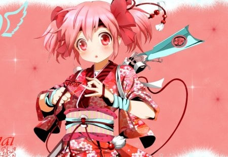 Pink and Red Cutie - red, cuite, komono, bows, hearts, young, girl, teen, anime, weapon, pink