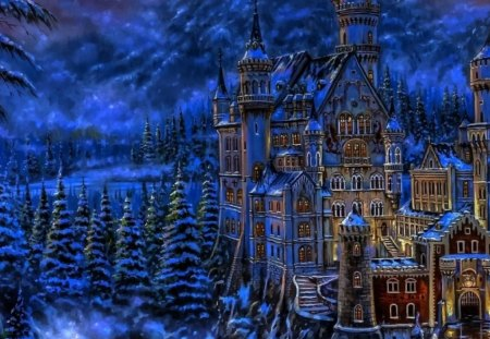 fantasy castle - building, snow, trees, lights