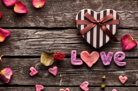 ♥ LOVE ♥ - hearts, photography, ribbon, bow, roses, petals, heart, wood, rose, petal, gift, love