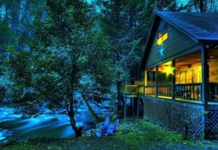 House on riverbank - lovely, twilight, stream, house, forest, nice, river, light, dusk, beautiful, trees, summer, riverbank, nature, countryside
