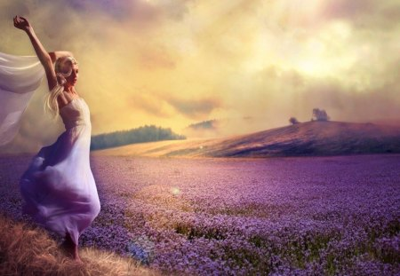 Purple dreams - lavender, meadow, clouds, fantasy, purple, dreams, dress, woman, romantic, lady, sky, vail, girl, beautiful, field