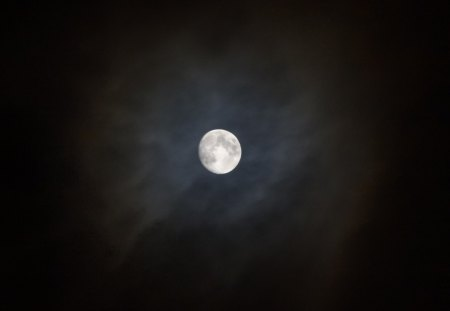 Moon and Clouds - moon, clouds, night, sky