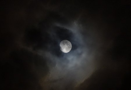 Moon and Clouds - moon, sky, clouds, night