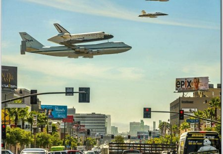 space shuttle in LA - los angeles, air planes, space, shuttle