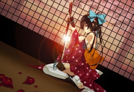 Refeia Girl - bow, nail polish, hair stick, thighhigh, hot, anime girl, long hair, sword, black hair, female, sideboob, refeia, sexy, breasts, cool, japanese clothes, hair bell, katana, feet, sitting, bangs, barefoot, boob, pony tail