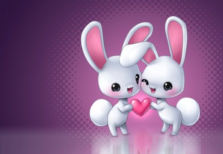 Cute Bunnies.  - pink, white, heart, love