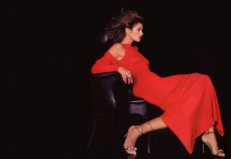 Cindy Crawford - lady in red - sensual, pretty, famous, beauty, chair, face, long hair, big hair, star, celebrity, gown, sexy, lips, makeup, lady in red, eyes, fashion, style, red, red dress, splendid, beautiful, woman, cindy crawford, high heels, supermodel, foot, legs, long dess, tempting, 90s, brunette, passion