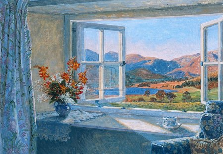 open window - flowers, autumn, september, fells, window, vase, view