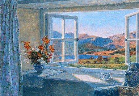 open window - flowers, autumn, september, fells, window, vase, view