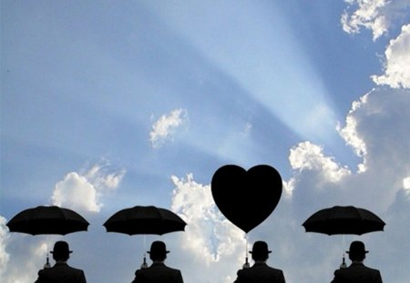 three umbrella and one heart - sun rays, clouds, sky, silhouettes, hats, collage, men