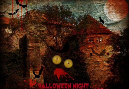 ♥     Halloween Night     ♥ - castle, halloween, moon, fear, horror, bats, abstract, collages
