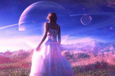 * My purple world * - grass, dreamer, sky, magic, nature, amazing, dress, purple, clouds, planet, field, girl