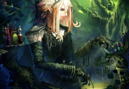 Magic Elf Girl - pointy ears, blonde hair, megic elf girl, hot, magic, profile, tree, jewelry, sexy, forest, cool, earring, elf, female, smile