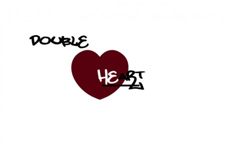 Double Heart - text, double, love plain, white, read, abstract, black, heart
