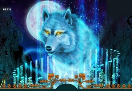 NIGHT OF THE THE BLUE WOLF - animal, stars, blue, wolf, sky, moon, night, mountains