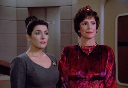 Majel Barrett and marina sirtis