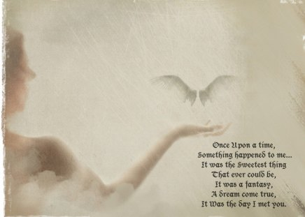 Once Upon a Time - wprds, wings, fantasy, dream, word, angel