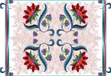 FLORAL GATHERING ON A LEAFY BED - varied gradient fram, purple, leafy background, red