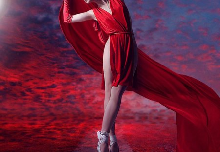 The Dancer - dancer, red dress, woman, dance