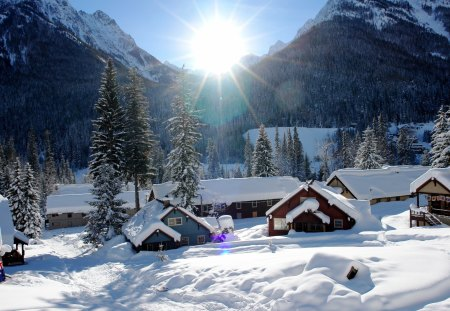 Winter - beauty, lovely, snow, sun, winter time, landscape, beautiful, trees, nature, village, peaceful, valley, winter, snowy, sunlight, house, clouds, cottage, view, houses, rays, sunrays, sky, splendor, mountains, architecture, tree