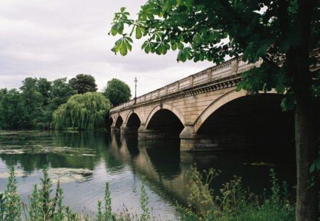 Bridge over the Serpentine - water, park, london, bridges