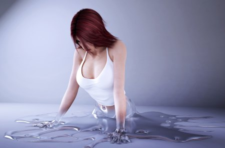 rendering - alloy, liquid, girl, 3d