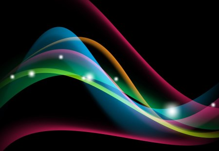 Bright and Shiny II - curves, blue, shine, colors, pink, lines, waves, abstract, glow, bright, spectrum, stars, orange, green