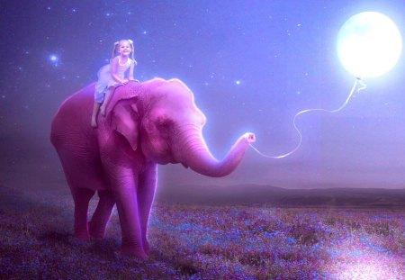 HAPPY RIDE - stars, child, sky, moon, elephant, balloon, ride, kid