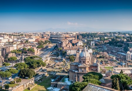 Rome - architecture, house, monuments, colosseum, beautiful, clouds, italia, monument, city, splendor, beauty, streets, road, italy, street, towm, lovely, view, houses, buildings, rome, sky, roma, building, tree, tres, peaceful, nature