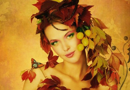Autumn girl - golden, face, orange, woman, fairy, lady, mood, autumn, nice, nature, fall, red hair, beautiful, lovely, girl, pretty, smile, falling, leaves, fruits