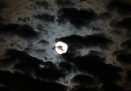 The Clouds and The Moon - moon, cloudy, night, sky