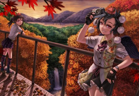 Anime girls - autumn, girl, anime, camera, woman