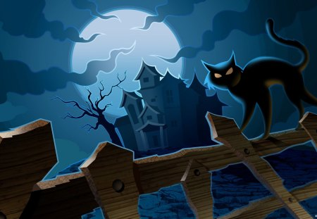 Scary Cat - fence, house, halloween, iron fence, black, cat, clouds, moon, spooky, black cat, mansion, scary