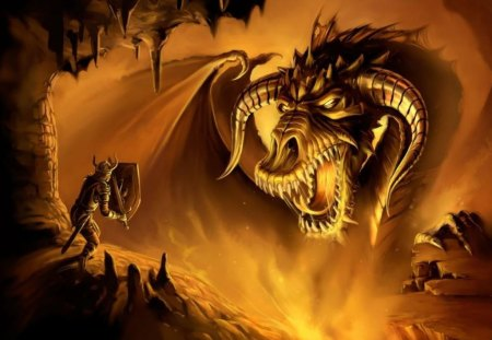 Fire Dragon - wings, cavern, shield, evil, dragon, cave, horns, fire, scales, knight