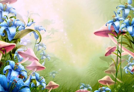 Mushrooms and Flowers - cgi, green, flowers, mushrooms, nature, abstract, pink, blue