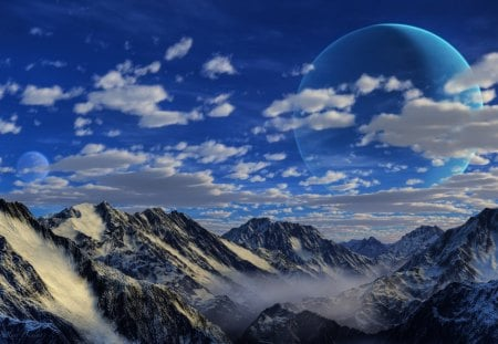 Moon Over Mountains - moon, cloud, snow, mountains, peaks, blue