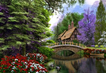 Lonely forest cottage - lovely, colorful, clear, creek, flowers, forest, pretty, lonely, green, beautiful, lakeshore, summer, trees, lake, shore, riverbank, bridge, peaceful, stream, calm, house, nice, mirrored, river, cabin, cottage, serenity, reflection, countryside, fresh, painting