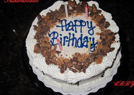 Happy Birthday Cake - chocolate, candles, brown, cake, white, blue