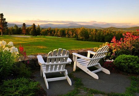 GARDEN CHAIRS - scenic, furniture, mountain, chair, relaxation, north america, new hampshire, adirondack chair, appalachian mountains, seat, emptiness, seating furniture, outdoor furniture, idyllic, new england, serenity, garden, landscape