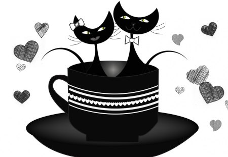 Cuppa Cats - hearts, kitty, cats, romantic, valentines day, tea, sweet, cute, black and white, coffee, cup, feline, love