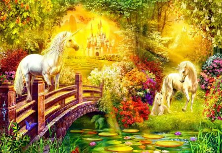 Fantasy world - grass, light, lake, shine, magic, sun, forest, pond, unicorns, dreams, sunny, world, flowers, bridge, nice, trees, beautiful, lovely, fantasy, horses, lilies, rays