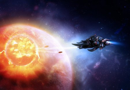 fantasy space art - ship, stars, missiles, planet