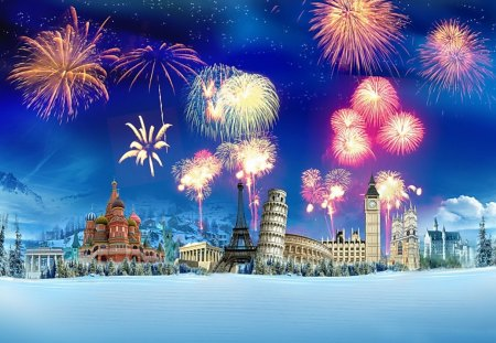 Around The World - colorful, world, fireworks, cathedral, big ben, travel, collage, eiffel tower, snow, winter