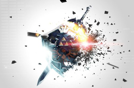 Zelda - HD - hd, shield, explosion, video games, abstract, triforce, master, epic, clash, zelda, sword, hylian