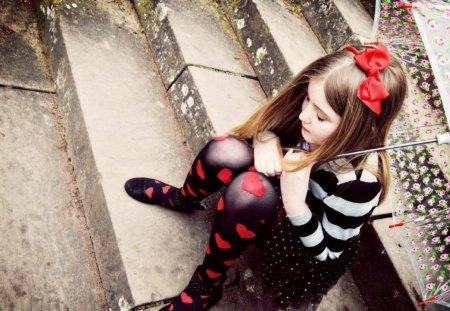 Cute Girl - bow, girl, cute, umbrella