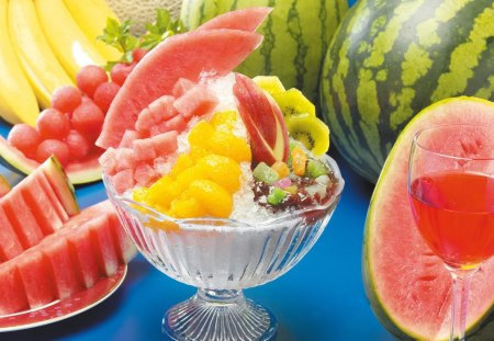 Ice cold fruits - food, desserts, cold, sweet, ice, glass, watermelon, berry, fruits
