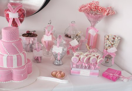 Pink is Sweet - pink, cake, sweet, candies
