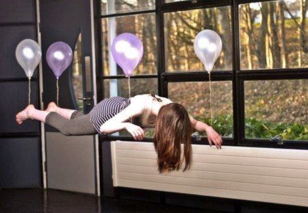 Floating Lady - floating, nice, balloons, lady