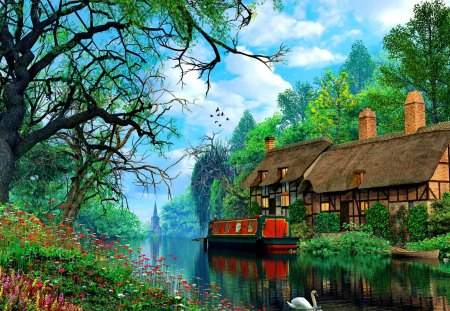 Countryside serenity - serenity, tranquility, flowers, sky, nice, summer, nature, trees, cabin, reflection, beautiful, lovely, swan, river, dusk, clouds, pretty, cottage, house, riverbank, shore